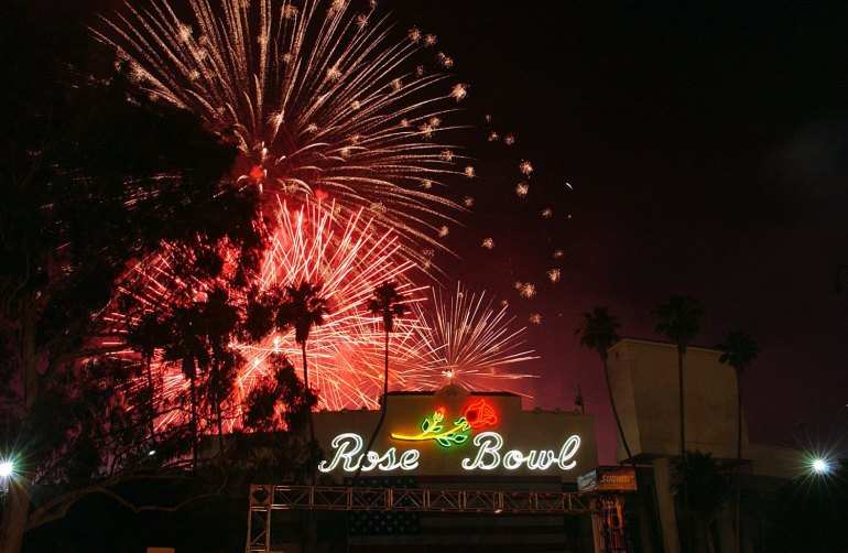 Fireworks explode over the Rose Bowl during 4th of July Taste of America. (Photo by Steve Grayson/WireImage)